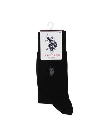 U.S.Polo Assn. Erkek Modal Nakışlı Tekli Soket Çorap Siyah